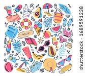 summer vibes pattern elements... | Shutterstock .eps vector #1689591238