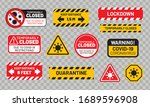 quarantine sign set for covid... | Shutterstock .eps vector #1689596908