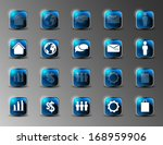 collection of blue shiny icons... | Shutterstock .eps vector #168959906