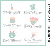 logo set for party planner and... | Shutterstock .eps vector #1689602395