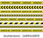 quarantine zone warning tape.... | Shutterstock .eps vector #1689610855