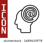 black line mail and e mail icon ...   Shutterstock .eps vector #1689610978
