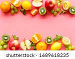 Fresh Fruits Background With...