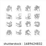 hand washing line icon set.... | Shutterstock .eps vector #1689624832