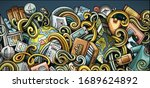 travel hand drawn doodle banner.... | Shutterstock .eps vector #1689624892