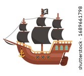 wooden pirate ship isolated on... | Shutterstock .eps vector #1689661798