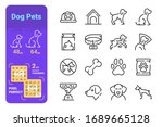 dog pets line icons set vector... | Shutterstock .eps vector #1689665128