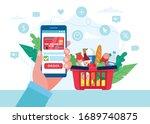 order grocery online. order... | Shutterstock .eps vector #1689740875