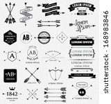 Vintage design elements. Retro style. arrows, labels, ribbons, symbols such as logos. Editable vector illustration file.