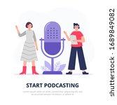 podcasting illustration.... | Shutterstock .eps vector #1689849082
