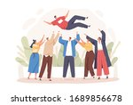 happy cartoon people toss up... | Shutterstock .eps vector #1689856678