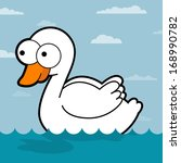 swan cartoon. white swan in the ... | Shutterstock .eps vector #168990782