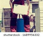 unrecognizable woman working on ... | Shutterstock . vector #1689956332
