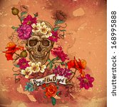 skull and flowers day of the... | Shutterstock .eps vector #168995888