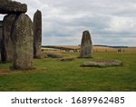 Circle Stones On Cloudy Day At...