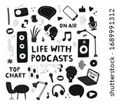 podcasts concept clipart. black ... | Shutterstock .eps vector #1689991312