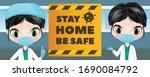 covid 19 quarantine lockdown...   Shutterstock .eps vector #1690084792
