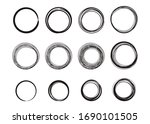hand drawn circle and oval line ...   Shutterstock .eps vector #1690101505