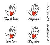 stay home stay safe coronavirus ... | Shutterstock .eps vector #1690102798