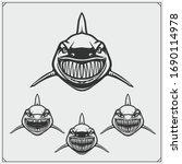 aggressive shark set. print... | Shutterstock .eps vector #1690114978