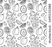 fruit hand drawn vector pattern.... | Shutterstock .eps vector #1690131088