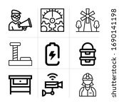 outline industry 9 vector icons ...