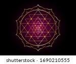 mystical mandala of sri yantra... | Shutterstock .eps vector #1690210555