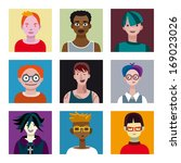 varied set of young characters  ... | Shutterstock .eps vector #169023026
