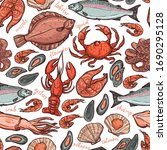 pattern with seafood hand drawn ... | Shutterstock . vector #1690295128