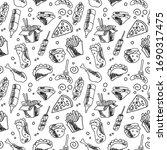 seamless vector doodle food... | Shutterstock .eps vector #1690317475