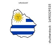 map and flag of uruguay vector... | Shutterstock .eps vector #1690329535