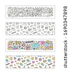 horizontal banners with doodle... | Shutterstock .eps vector #1690347898
