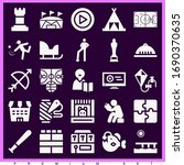 set of 25 leisure filled icons... | Shutterstock . vector #1690370635