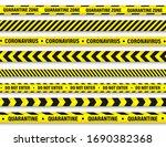 quarantine zone warning tape.... | Shutterstock .eps vector #1690382368