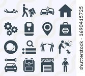 simple set of  16 filled icons... | Shutterstock . vector #1690415725