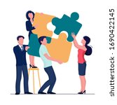 puzzle team concept. business... | Shutterstock .eps vector #1690422145
