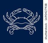 Crab In White Color. Blue Crab...