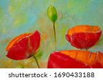 Large Red Poppies Close Up And...