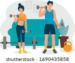 sports at home. happy family... | Shutterstock .eps vector #1690435858