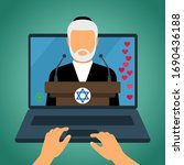 Jewish rabbi holds Saturday Sabbath online. Home synagogue during quarantine due to Covid-19 coronavirus. Internet Synagogue and Star of David. vector illustration