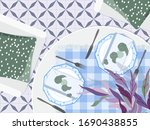 table setting top down view.... | Shutterstock .eps vector #1690438855