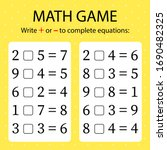 math game. write   or   in... | Shutterstock .eps vector #1690482325