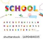 school 3d puzzle font. cartoon... | Shutterstock .eps vector #1690484035