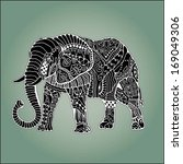 hand drawn elephant with... | Shutterstock .eps vector #169049306