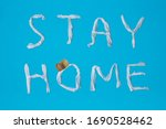 words stay home made of toilet... | Shutterstock . vector #1690528462