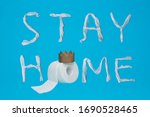 words stay home made of toilet... | Shutterstock . vector #1690528465