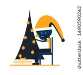 man decorates a christmas tree... | Shutterstock .eps vector #1690590262