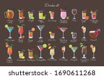 set of drinks on a brown...   Shutterstock .eps vector #1690611268