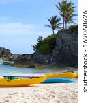 paddle boats are on sandy beach ... | Shutterstock . vector #169068626