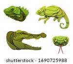 Set Of Cartoon Wild Reptiles...